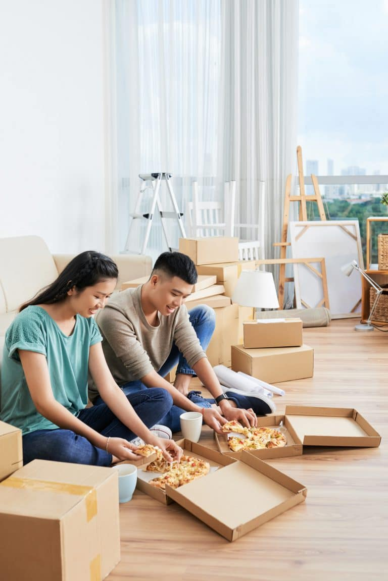 Couple have lunch at home