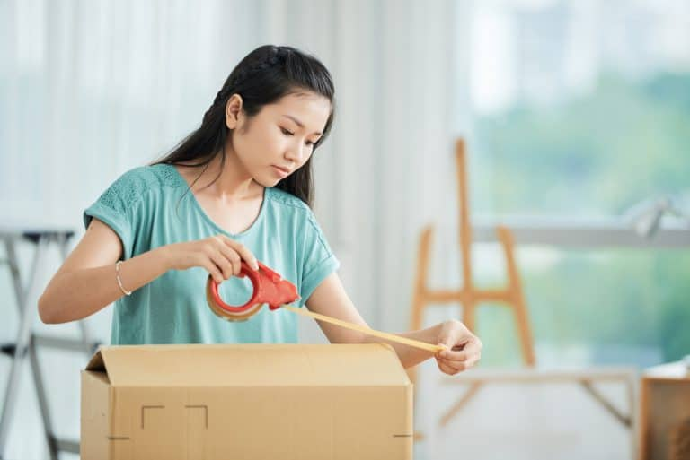 Woman packing the box