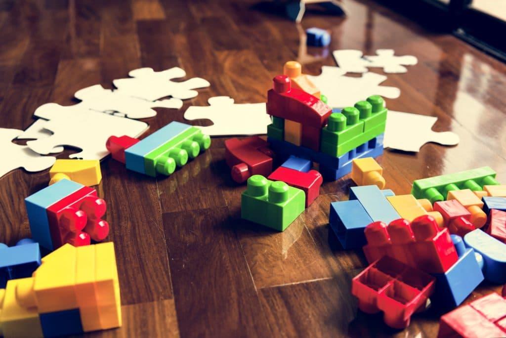 Kids toys on wooden floor