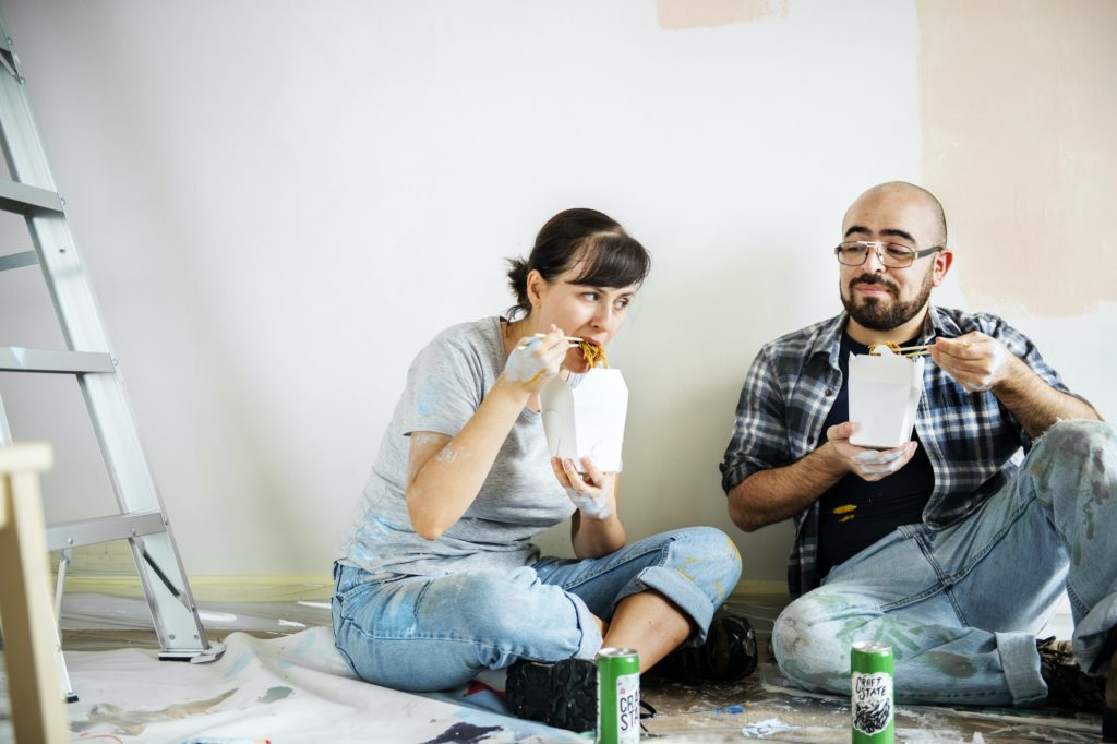 People eating dinner in a new home