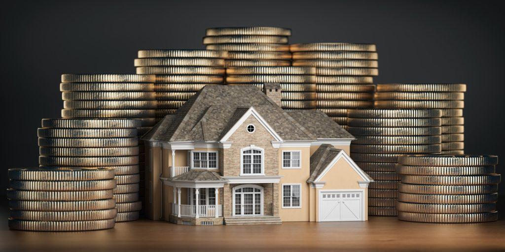 Coins around a house