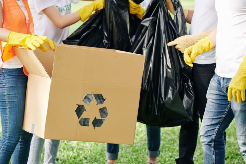Volunteers sorting trash