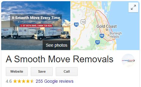 Google Reviews for removalist company