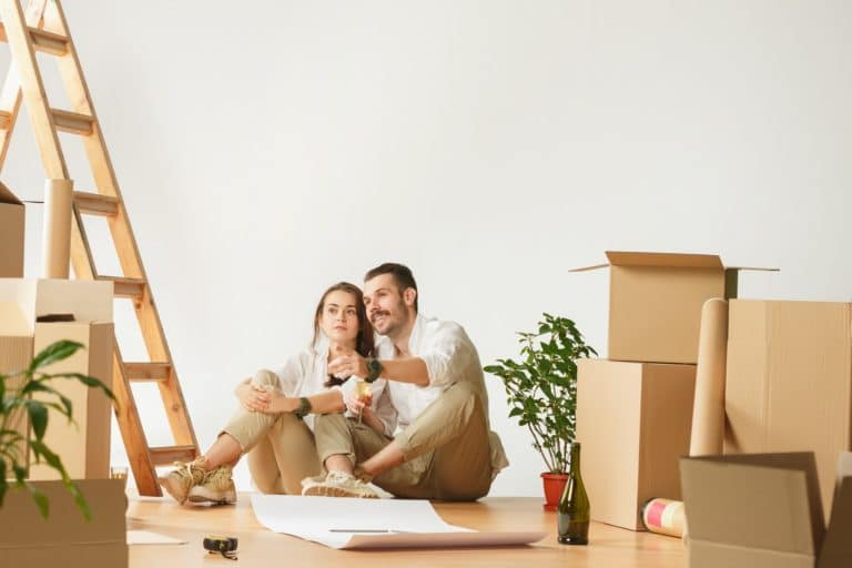 Couple moving to a new home.